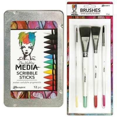 Dina Wakley Media Scribble Sticks & Brushes Bundle,12 Water-Soluble Crayons &