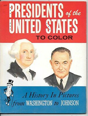 1965 Presidents Of The United States To Color ~ Mint Coloring Book To Johnson