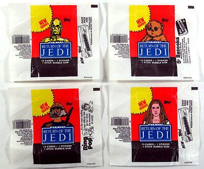 Star Wars Jedi (ROTJ S2) - 4x Wax Pack Card Wrapper SET - Slight Tears