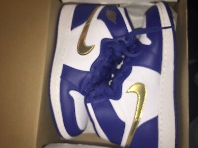 Air Jordan 1 Retro High OLYMPIC GOLD Medal Royal Blue White Coin 332550 406  sz 5 957d7df102d0