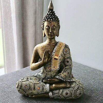 New Thai Buddha Rustic Golden Design Meditating Figure Ornament Feng Shui Om