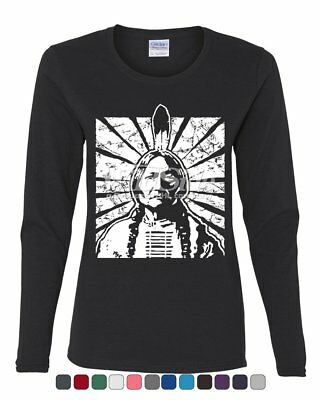 Chief Sitting Bull Women's Long Sleeve Tee Native American Indian Resistance