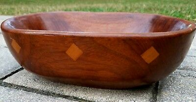 Vintage wooden dough bowl carved fruit trencher table decor inlay Mid-century