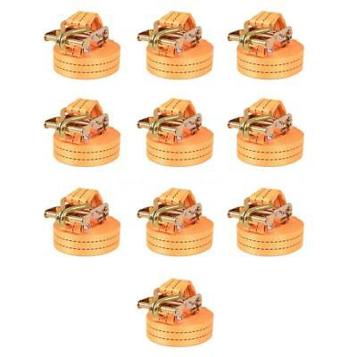 Sangle d'arrimage à cliquet 10 pcs 2 tonnes 6 m x 38 mm Orange T2Y4