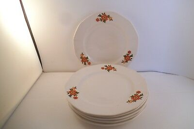 Vintage French Saxon China Sebring Set of 6 Bread Plates Red Flowers