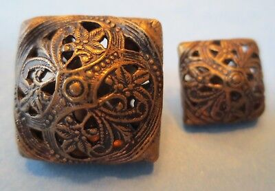 Antique Vintage Brass Metal Cricket Cage Buttons Pierced Filigree Ornate Flower