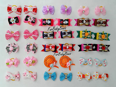 50 Wholesale Puppy dog Pet grooming bows YORKIE Shihtzu Maltese 1 Free Crown bow