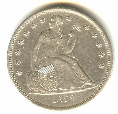 1859 O Seated Liberty Dollar AU In Grade New Orleans Mint White Coin