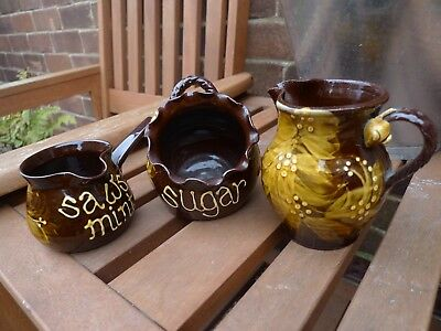 Gwili Studio Pottery Honey Wheat Slipware design (Jug, Mint sauce & Sugar Bowl)