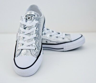 f6cd96217695 Converse All-Star Chuck Taylor Silver Glitter Unisex Low Sneakers   135851C Size