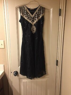 Black And Gold Sequined Chudidar Vintage Dress Size Small
