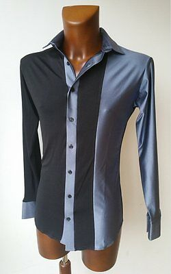 Mens Black / Grey Stretch Crepe Latin / Tango Dance / Party Shirt