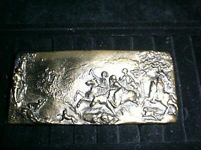 Belt Buckle Brass, Old English Hunt With Side Saddle Riders.