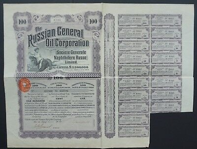 Russia- Russian General Oil Corporation - capital 2,5 mln - 100 shares 1912