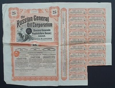 Russia- Russian General Oil Corporation - capital 2,5 mln - 25 shares 1913