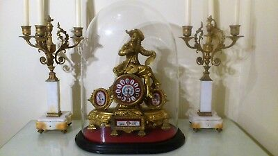 French Gilt Figural Mantel Clock with Sevres Panels, Base & Glass Dome.