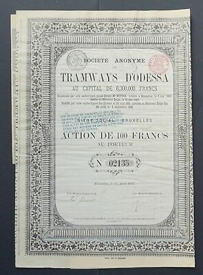 Russia/Ukraine - Tramways d'Odessa - share for 100 francs - 1881