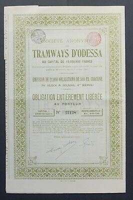 Russia/Ukraine - Tramways d'Odessa - bond for 500 francs - 1880 - 4th issue