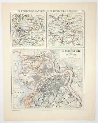 1895 Antique St. Petersburg Moscow Map - Vintage Russia Print- Old Europe Art