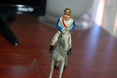 Vintage Antique Cast Metal Toy Horse And Jockey #3 Made In Usa