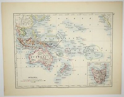 1895 Antique Oceania Map - Australia New Zealand Vintage Art - Old Print