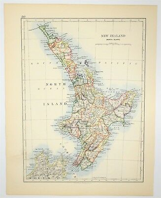 1895 AntiqueNew Zealand Map -Hand Colored - Oceania Vintage Art - Old Print