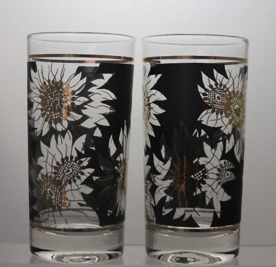 Gold And Black Highball Glass Tumblers Set Of 2