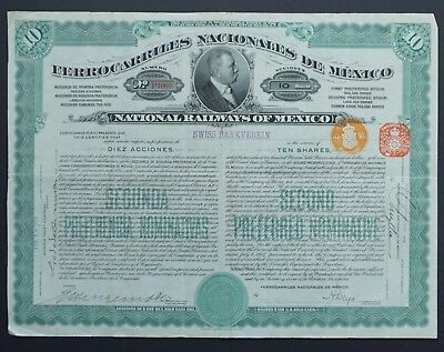 Mexico - National Railways of Mexico -1909- 10-2nd Pref.shs / 1000 gold dollar