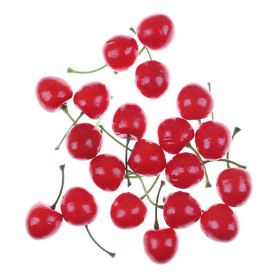 10pcs Fake Fruit Small Artificial Flower Red Cherry For Kids Funny Kitchen ToyBD