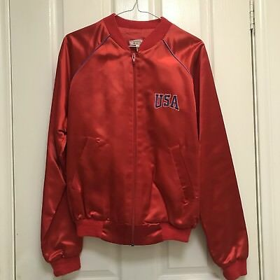 VINTAGE USA 1984 Olympic Bomber Jacket Size M - Women's Red Satin LA Games