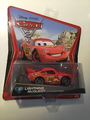 Disney Pixar Cars 2 #3 Lightning McQueen with Racing Wheels Car Diecast Mattel & DISNEY PIXAR CARS 2 #3 Lightning McQueen with Racing Wheels Car ...