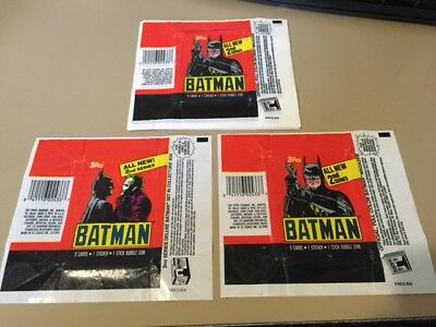Batman Movie Series 2  - 10x Wax Pack Card Wrapper LOT - 1989 Topps - NO TEARS !