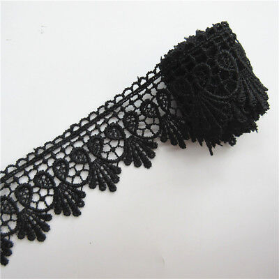 Wholesale 13yards/lot 5.5cm Black Embroidered Lace Edge Trim Ribbon Sewing Craft