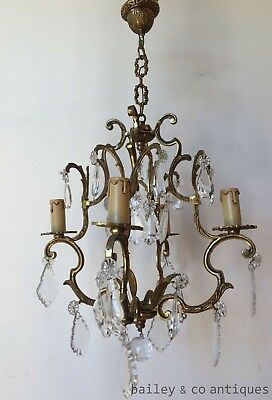 Antique French Chandelier Brass & Faceted Glass Cage Louis Style - QNF900