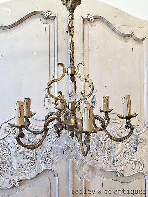 Antique French Chandelier Large Brass & Faceted Glass Louis XV Style - TMF600