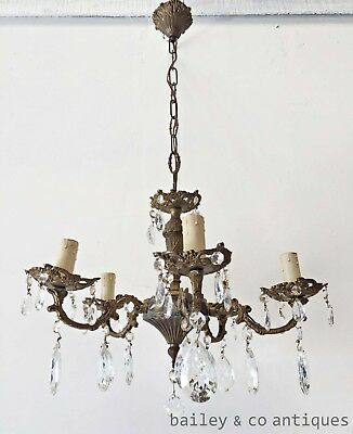 Antique Parisian Brass and Crystal 5 Arm Chandelier - DJ062