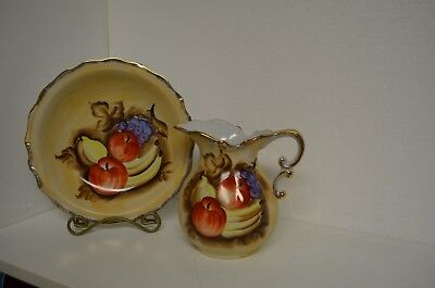 2 pc  Wash Basin bowl & pitcher set very colorful w fruit trimmed in gold NICE