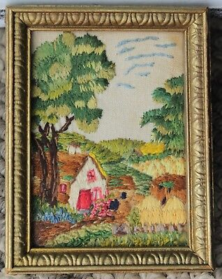 Miniature Antique Framed Stitchwork/Embroidery - Country Cottage