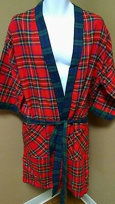 Vintage Unbranded Robe Mens Size M Red & Green Classic Plaid 100% Cotton Usa!