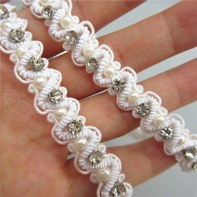 1 yd Repeating Bend Pearl Diamond Lace Trim Ribbon Wedding Applique Sewing Craft