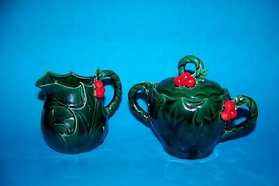 Vintage Lefton Christmas Green Holly Red Berry Creamer Sugar Bowl #1355