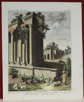 Baalbek Temple Of Bacchus Lebanon 1805 Rumpf & Bartholdy Antique Engraved View