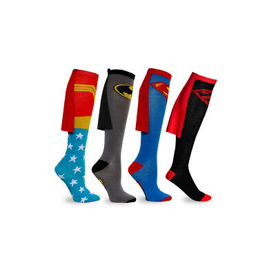 New Superhero Unisex Costume Knee High Socks With CAPE Attached
