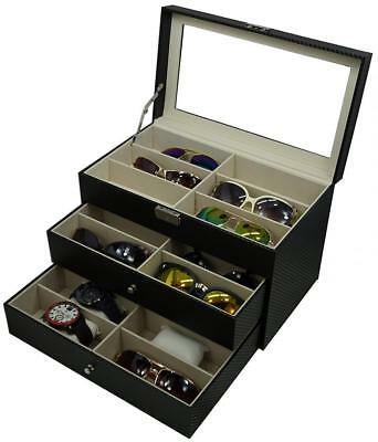Holding 6 Watches and 12 Glasses, or 18 Sunglasses Box Eyewear Watch...