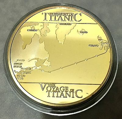 MEMORY OF THE TRAGEDY RMS TITANIC VOYAGE Coin Medallion 24K 999 GOLD FINISHED