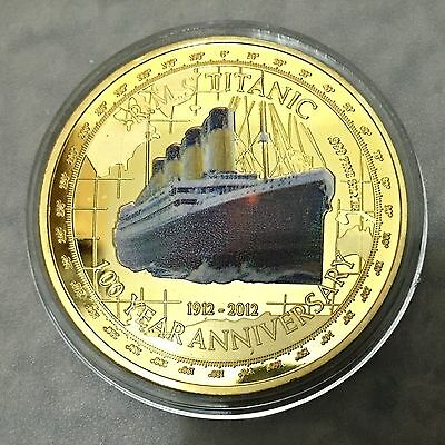 1 oz Tuvalu Titanic 100th Anniverary Tragedy Finished in 999 24K Gold Coin