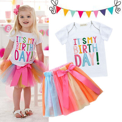 Baby Birthday Party Tulle Dress Toddler Kids Girl T-shirt Tutu Skirt Outfits Set