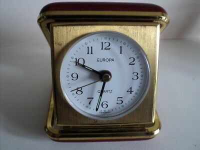 Vintage Europa Quartz Travel Clock With Alarm Made in Germany