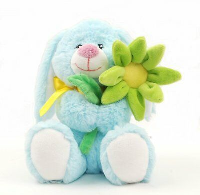 Linzy Plush Daisy Bunny with Flower, Blue 8.5""