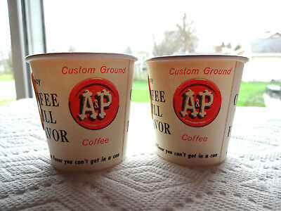 2 Vintage Unused A & P Grocery Store Sample Coffee Cups In Mint Nos Condition